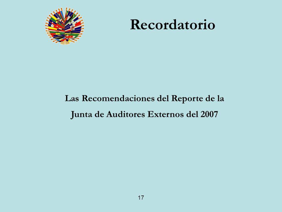 17 Las Recomendaciones del Reporte de la Junta de Auditores Externos del 2007 Recordatorio