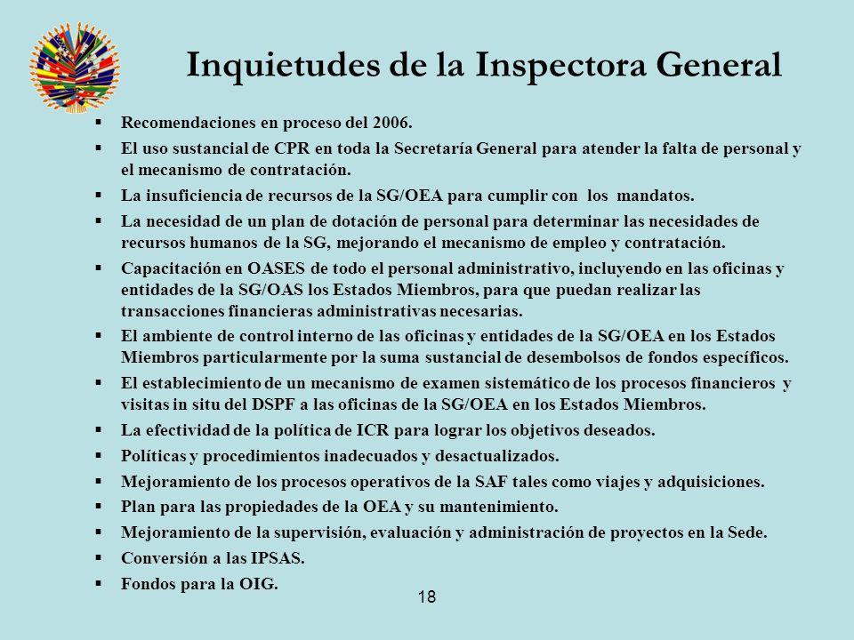 18 Inquietudes de la Inspectora General Recomendaciones en proceso del 2006.