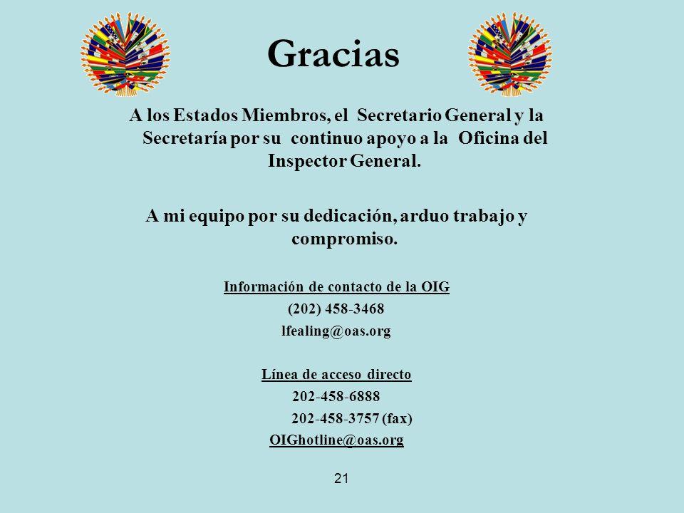 21 A los Estados Miembros, el Secretario General y la Secretaría por su continuo apoyo a la Oficina del Inspector General.