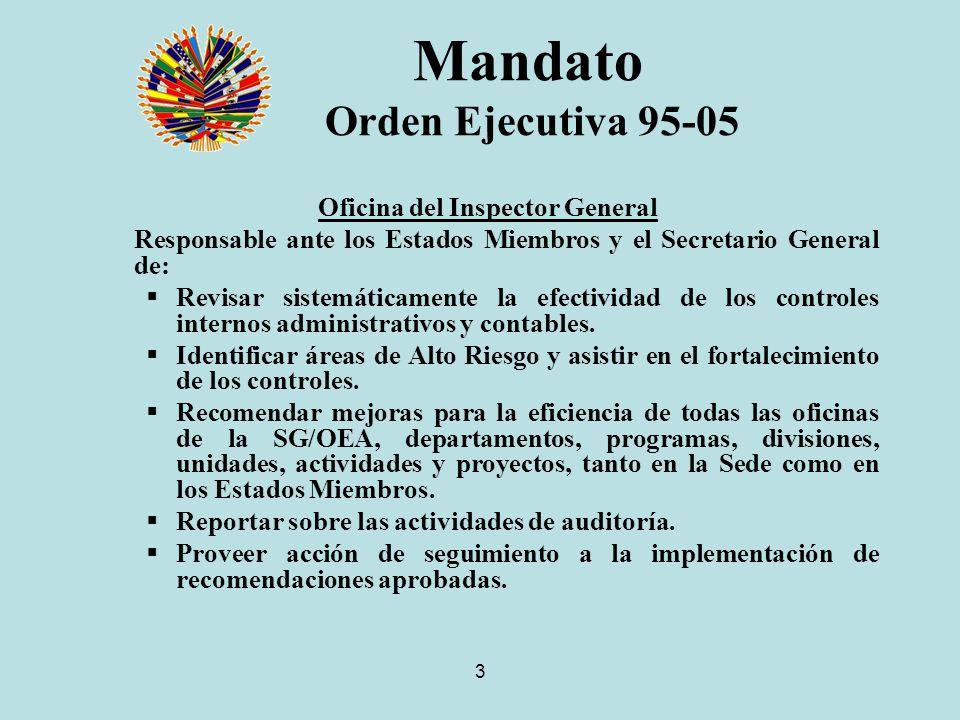 3 Mandato Orden Ejecutiva 95-05 Oficina del Inspector General Responsable ante los Estados Miembros y el Secretario General de: Revisar sistemáticamente la efectividad de los controles internos administrativos y contables.