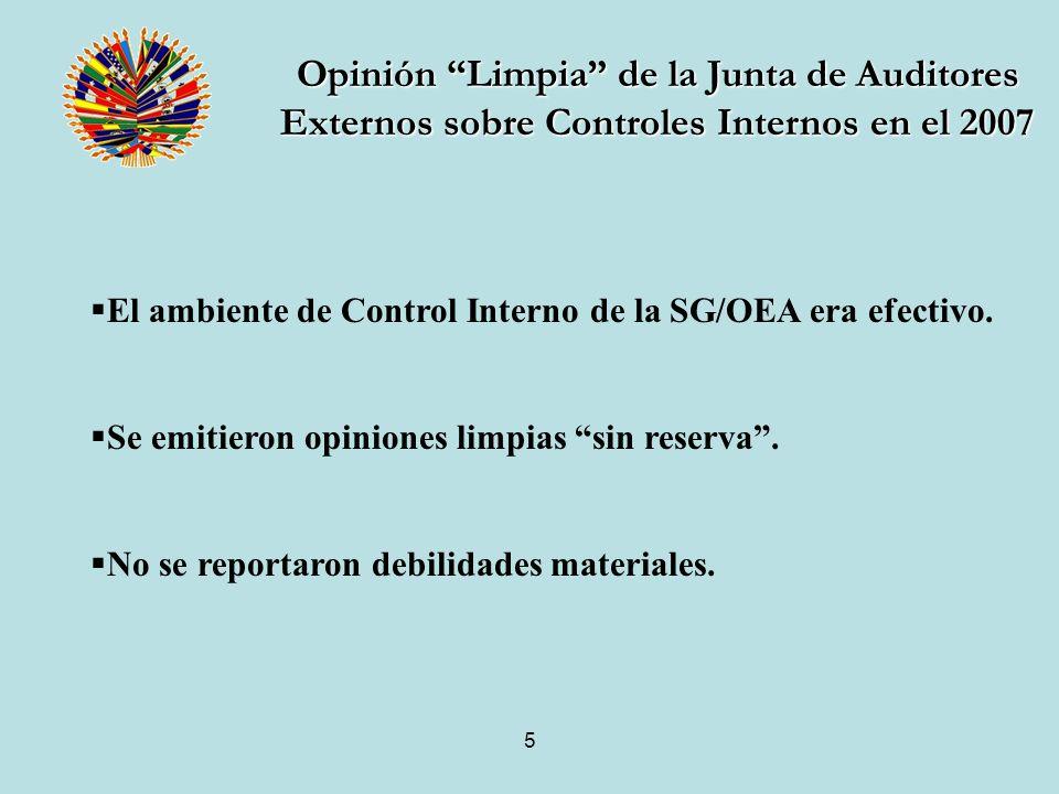 5 El ambiente de Control Interno de la SG/OEA era efectivo.