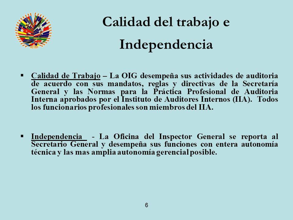 6 Calidad de Trabajo – La OIG desempeña sus actividades de auditoria de acuerdo con sus mandatos, reglas y directivas de la Secretaría General y las Normas para la Práctica Profesional de Auditoria Interna aprobados por el Instituto de Auditores Internos (IIA).