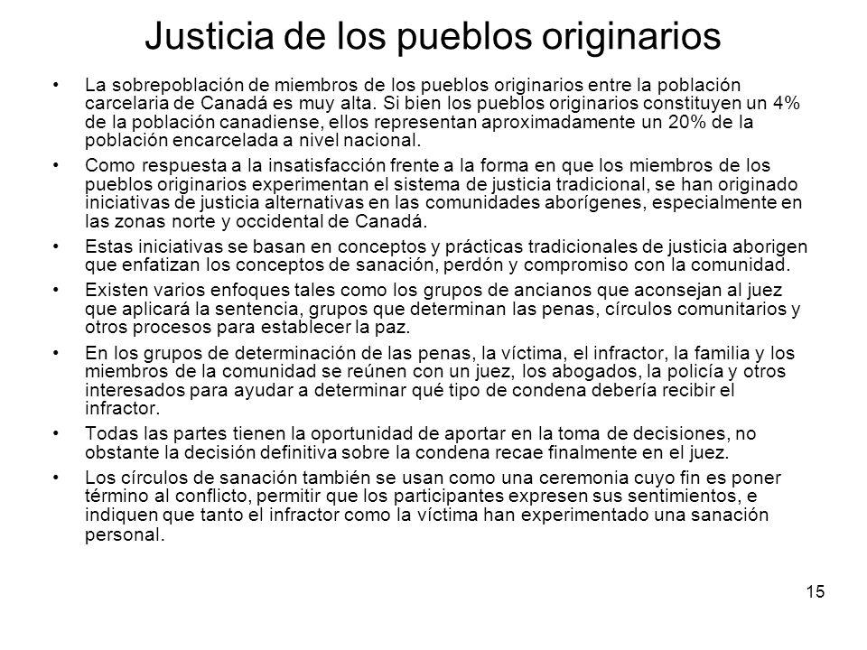 15 Justicia de los pueblos originarios La sobrepoblación de miembros de los pueblos originarios entre la población carcelaria de Canadá es muy alta.
