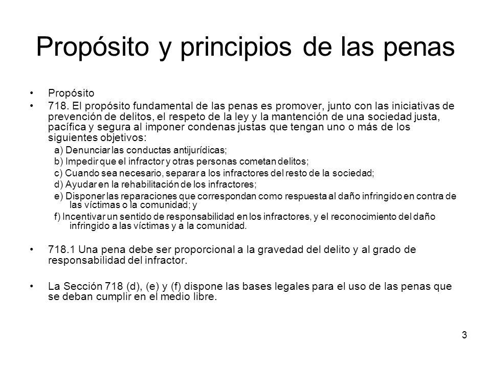 3 Propósito y principios de las penas Propósito 718.
