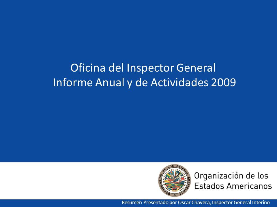Oficina del Inspector General Informe Anual y de Actividades 2009 Resumen Presentado por Oscar Chavera, Inspector General Interino