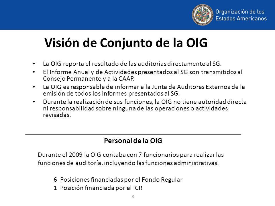 3 Visión de Conjunto de la OIG La OIG reporta el resultado de las auditorías directamente al SG. El Informe Anual y de Actividades presentados al SG s