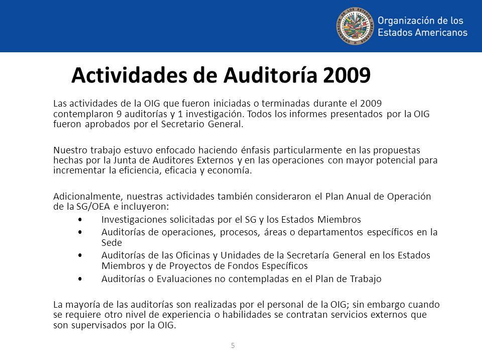 5 Actividades de Auditoría 2009 Las actividades de la OIG que fueron iniciadas o terminadas durante el 2009 contemplaron 9 auditorías y 1 investigació
