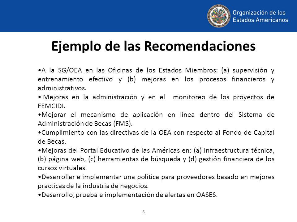 8 Ejemplo de las Recomendaciones A la SG/OEA en las Oficinas de los Estados Miembros: (a) supervisión y entrenamiento efectivo y (b) mejoras en los pr