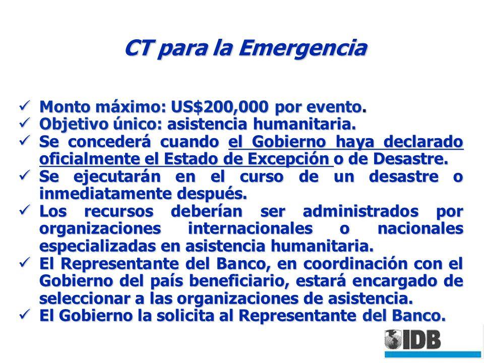 CT para la Emergencia Monto máximo: US$200,000 por evento.