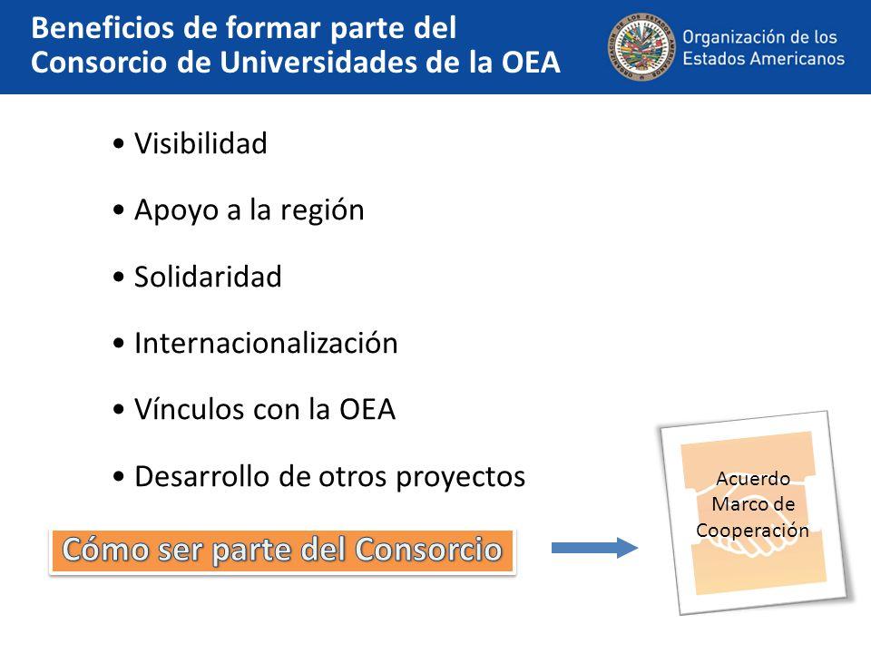 Visibilidad Apoyo a la región Solidaridad Internacionalización Vínculos con la OEA Desarrollo de otros proyectos Beneficios de formar parte del Consorcio de Universidades de la OEA Acuerdo Marco de Cooperación