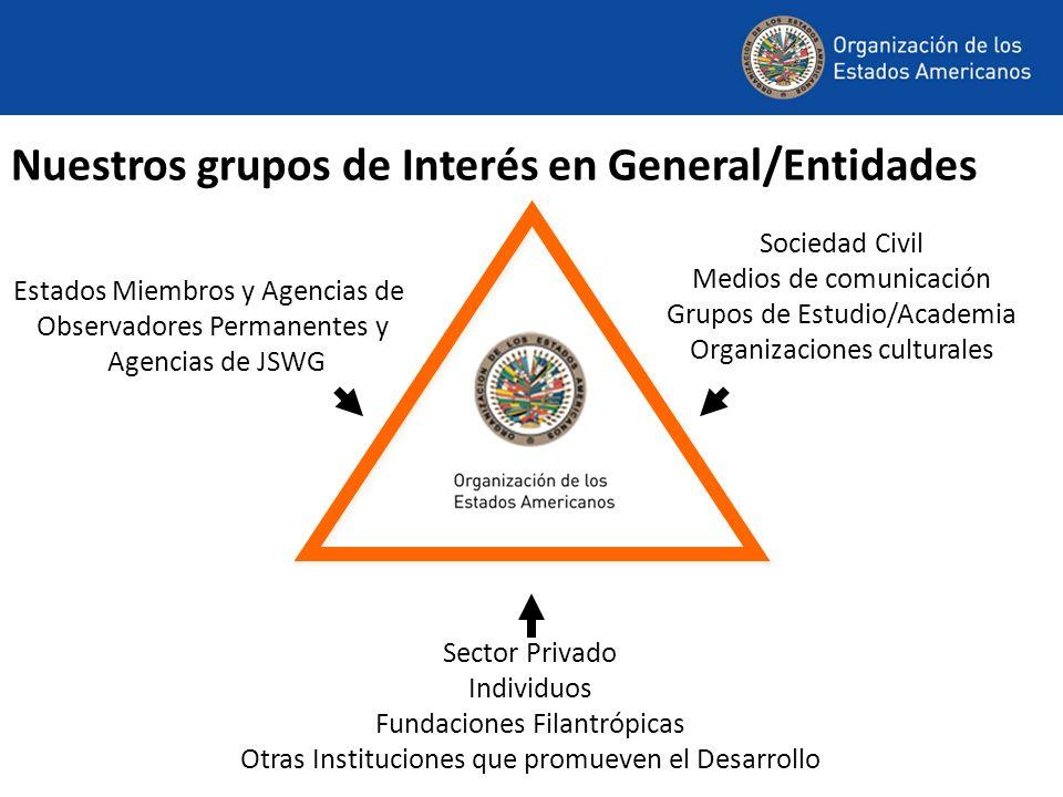 Nuestros grupos de Interés en General/Entidades Sector Privado Individuos Fundaciones Filantrópicas Otras Instituciones que promueven el Desarrollo Estados Miembros y Agencias de Observadores Permanentes y Agencias de JSWG Sociedad Civil Medios de comunicación Grupos de Estudio/Academia Organizaciones culturales