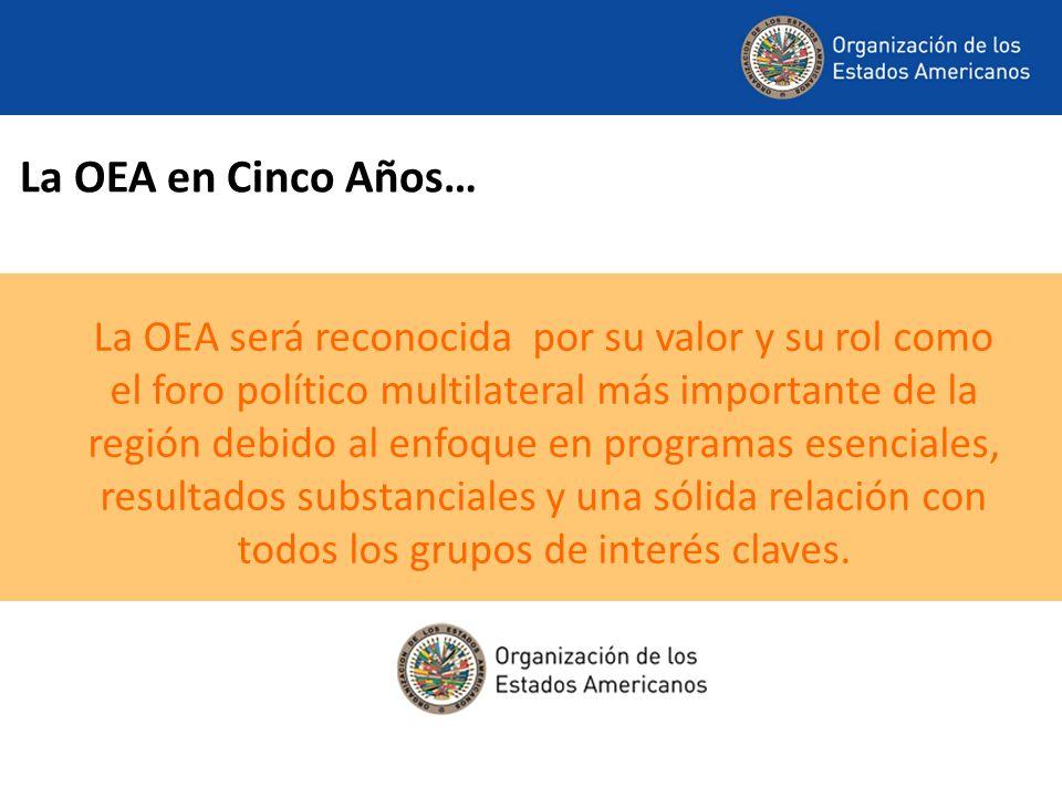 La OEA en Cinco Años… La OEA será reconocida por su valor y su rol como el foro político multilateral más importante de la región debido al enfoque en programas esenciales, resultados substanciales y una sólida relación con todos los grupos de interés claves.