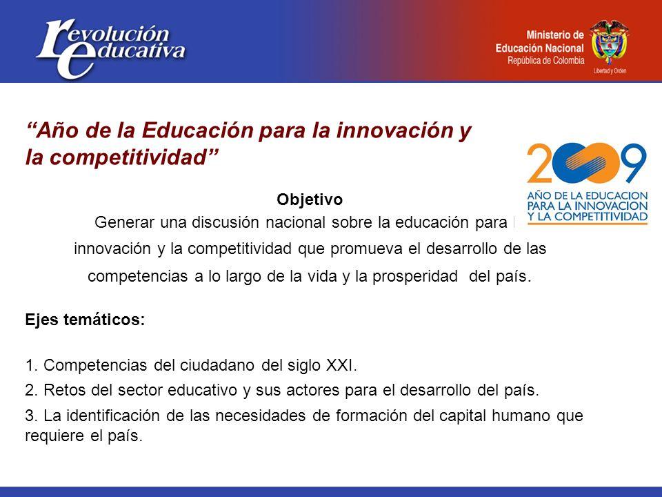 Año de la Educación para la innovación y la competitividad Objetivo Generar una discusión nacional sobre la educación para la innovación y la competitividad que promueva el desarrollo de las competencias a lo largo de la vida y la prosperidad del país.