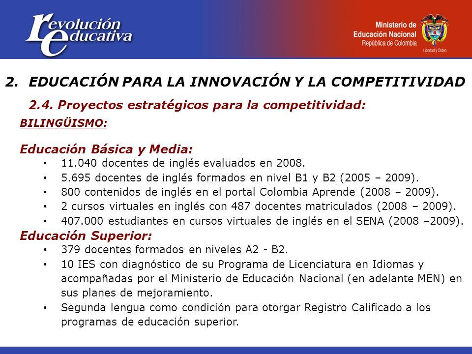 BILINGÜISMO: Educación Básica y Media: 11.040 docentes de inglés evaluados en 2008. 5.695 docentes de inglés formados en nivel B1 y B2 (2005 – 2009).