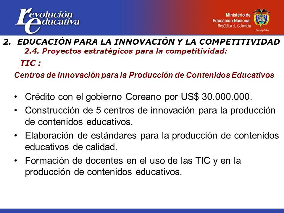 TIC : 2.EDUCACIÓN PARA LA INNOVACIÓN Y LA COMPETITIVIDAD 2.4. Proyectos estratégicos para la competitividad: Centros de Innovación para la Producción