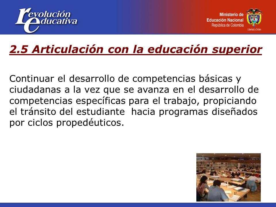 2.5 Articulación con la educación superior Continuar el desarrollo de competencias básicas y ciudadanas a la vez que se avanza en el desarrollo de com