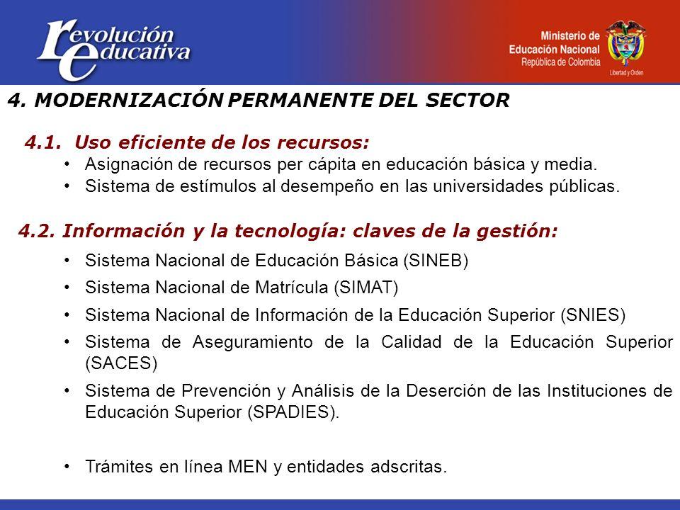 4. MODERNIZACIÓN PERMANENTE DEL SECTOR 4.1. Uso eficiente de los recursos: Asignación de recursos per cápita en educación básica y media. Sistema de e