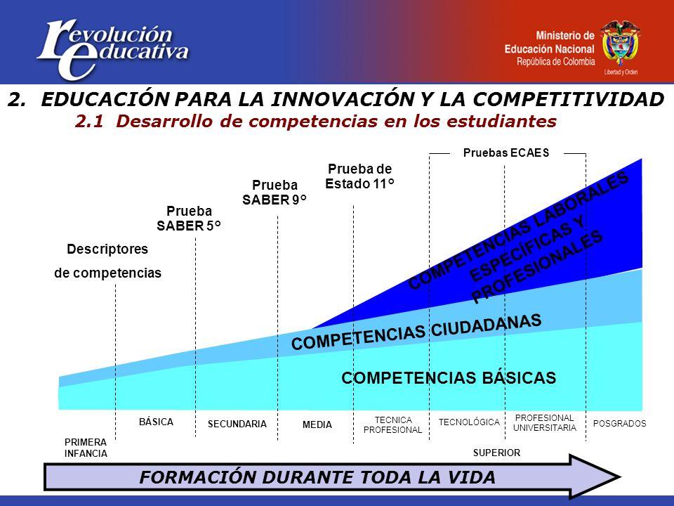 2.EDUCACIÓN PARA LA INNOVACIÓN Y LA COMPETITIVIDAD 2.1 Desarrollo de competencias en los estudiantes FORMACIÓN DURANTE TODA LA VIDA BÁSICA SECUNDARIA MEDIA TECNICA PROFESIONAL TECNOLÓGICA PROFESIONAL UNIVERSITARIA COMPETENCIAS BÁSICAS Prueba SABER 5° Prueba SABER 9° Prueba de Estado 11° Pruebas ECAES COMPETENCIAS CIUDADANAS SUPERIOR PRIMERA INFANCIA POSGRADOS Descriptores de competencias COMPETENCIAS LABORALES ESPECÍFICAS Y PROFESIONALES