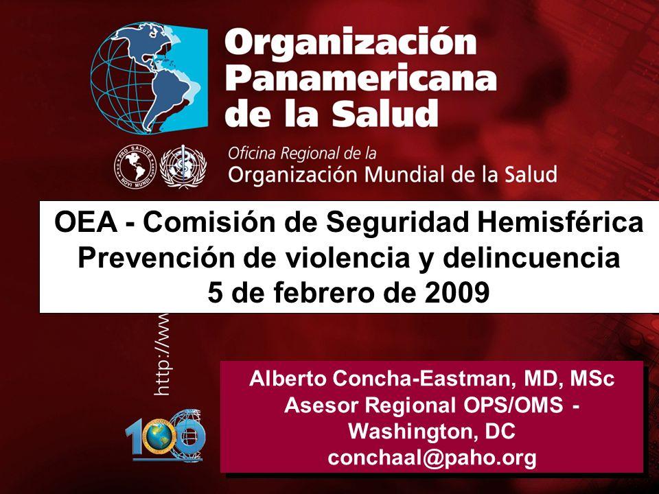 .. Alberto Concha-Eastman, MD, MSc Asesor Regional OPS/OMS - Washington, DC conchaal@paho.org Alberto Concha-Eastman, MD, MSc Asesor Regional OPS/OMS