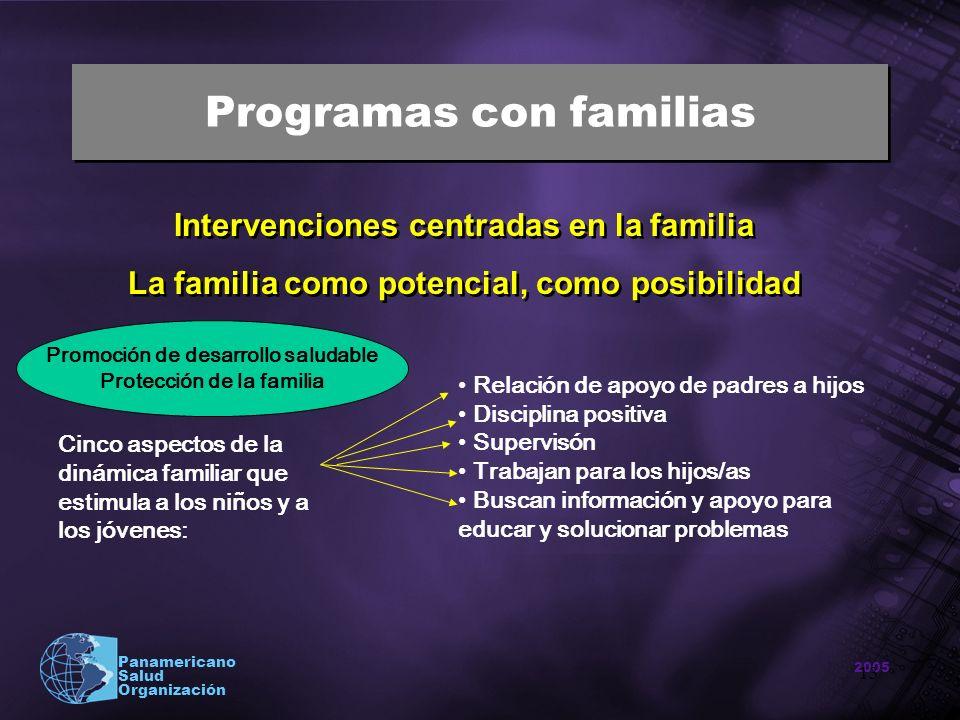 2005 Panamericano Salud Organización 13 Programas con familias Intervenciones centradas en la familia La familia como potencial, como posibilidad Inte