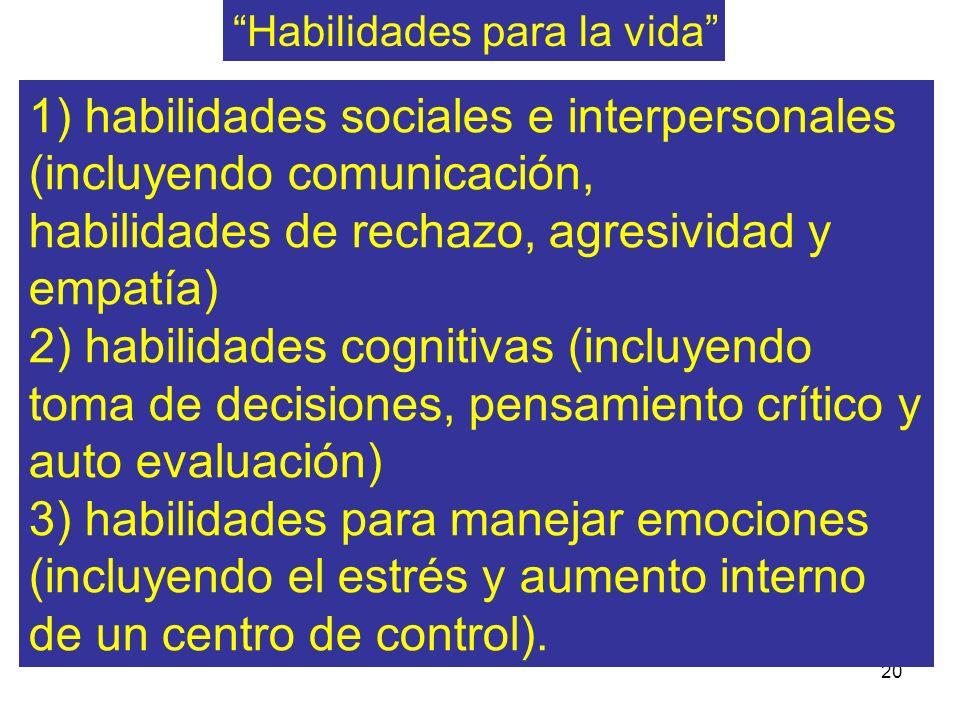 20 1) habilidades sociales e interpersonales (incluyendo comunicación, habilidades de rechazo, agresividad y empatía) 2) habilidades cognitivas (inclu