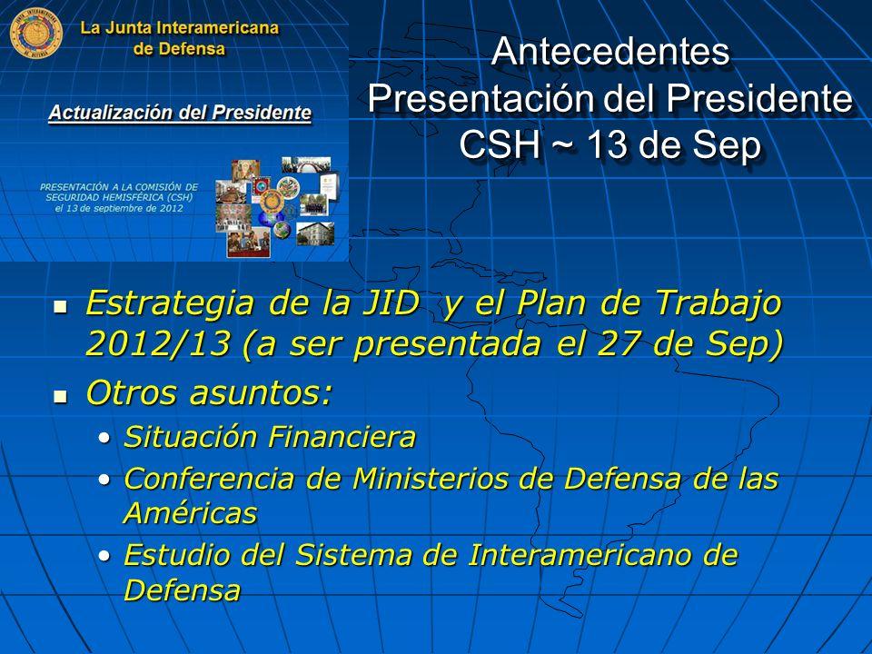 Antecedentes Presentación del DG CSH ~ 27 de Sep Elaboración de los Libros Blancos de la Defensa Elaboración de los Libros Blancos de la Defensa Medidas de Fomento de la Confianza y de la Seguridad Medidas de Fomento de la Confianza y de la Seguridad Asistencia Humanitaria en caso de desastres Asistencia Humanitaria en caso de desastres Las FFAA y su participación en tareas de Seguridad Publica Las FFAA y su participación en tareas de Seguridad Publica Acuerdos de Cooperación con la SSM / OEA Acuerdos de Cooperación con la SSM / OEA Actividades Principales Desminado Humanitario Desminado Humanitario Gestión, Seguridad y Destrucción de Estoque de Armas Gestión, Seguridad y Destrucción de Estoque de Armas