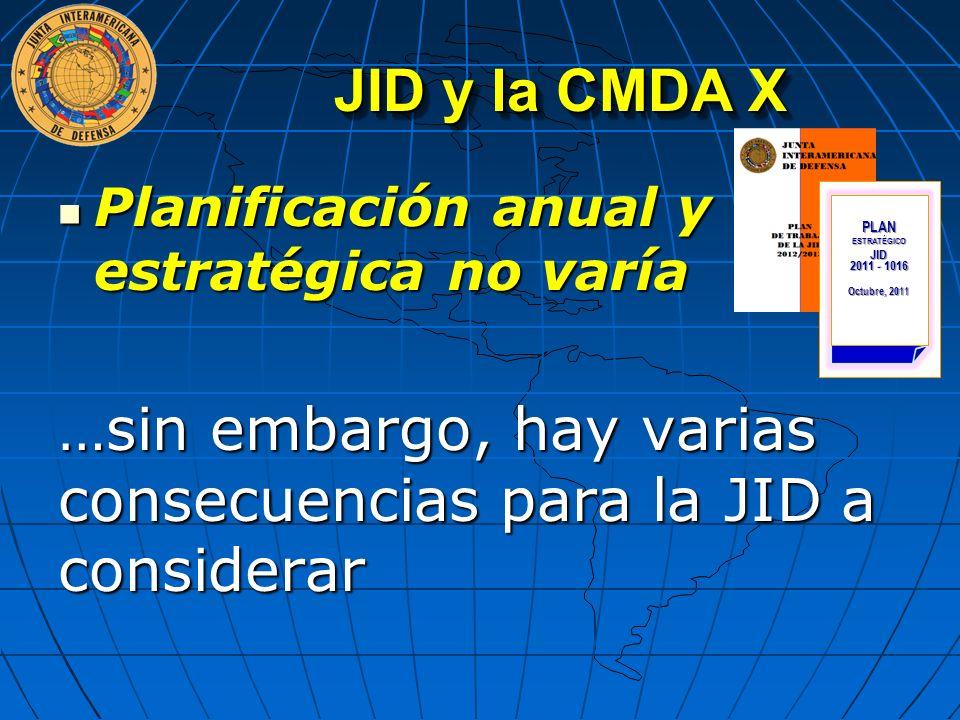 JID y la CMDA X Planificación anual y estratégica no varía Planificación anual y estratégica no varía …sin embargo, hay varias consecuencias para la J