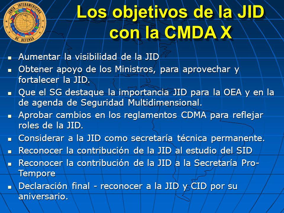 Aumentar la visibilidad de la JID Aumentar la visibilidad de la JID Obtener apoyo de los Ministros, para aprovechar y fortalecer la JID. Obtener apoyo