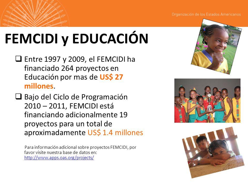 FEMCIDI y EDUCACIÓN Entre 1997 y 2009, el FEMCIDI ha financiado 264 proyectos en Educación por mas de US$ 27 millones.