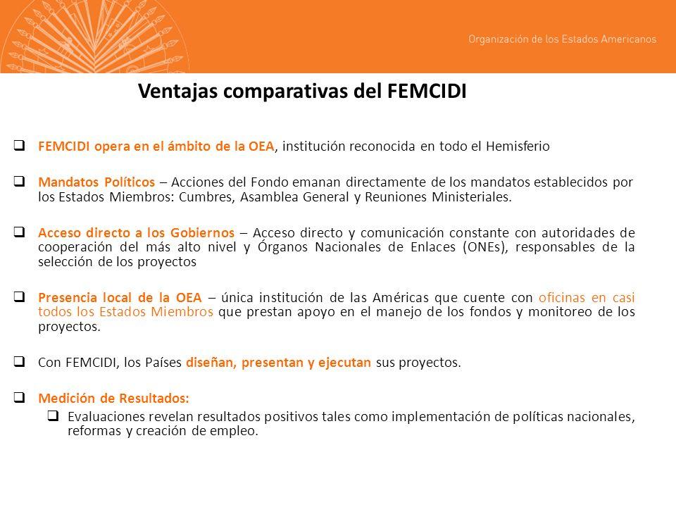 Ventajas comparativas del FEMCIDI FEMCIDI opera en el ámbito de la OEA, institución reconocida en todo el Hemisferio Mandatos Políticos – Acciones del Fondo emanan directamente de los mandatos establecidos por los Estados Miembros: Cumbres, Asamblea General y Reuniones Ministeriales.