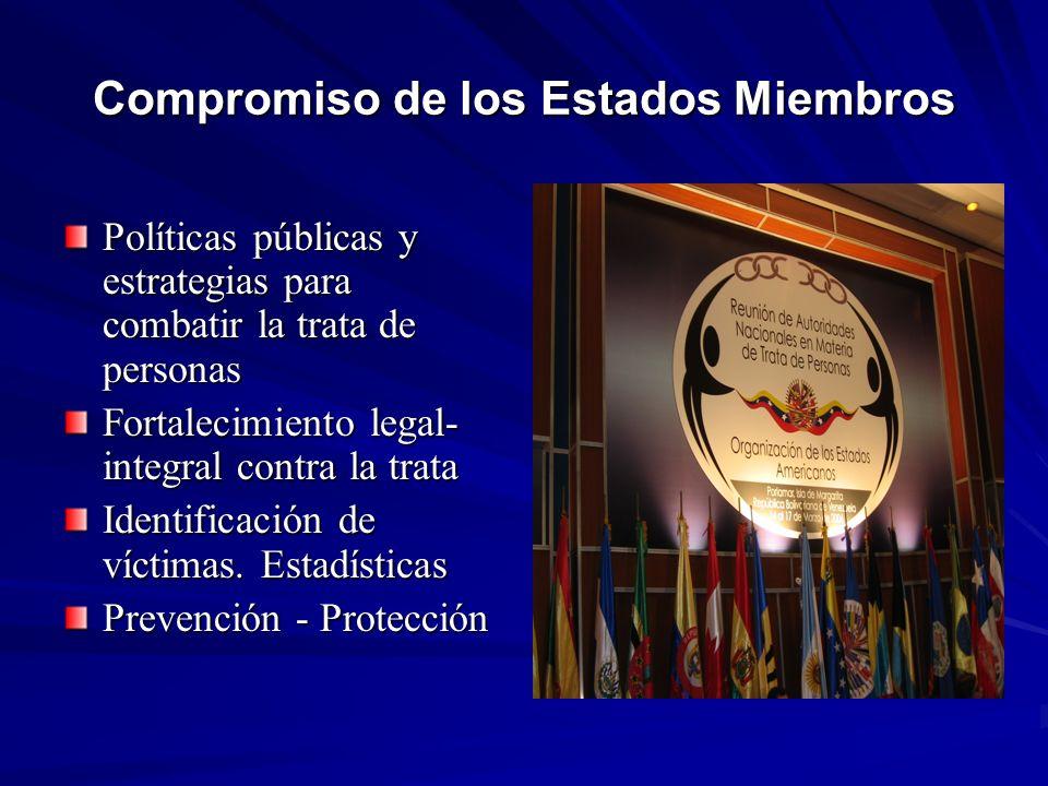 Compromiso de los Estados Miembros Políticas públicas y estrategias para combatir la trata de personas Fortalecimiento legal- integral contra la trata Identificación de víctimas.