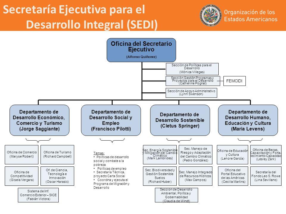 Oficina del Secretario Ejecutivo (Alfonso Quiñonez) Departamento de Desarrollo Económico, Comercio y Turismo (Jorge Saggiante) Sección de Políticas pa