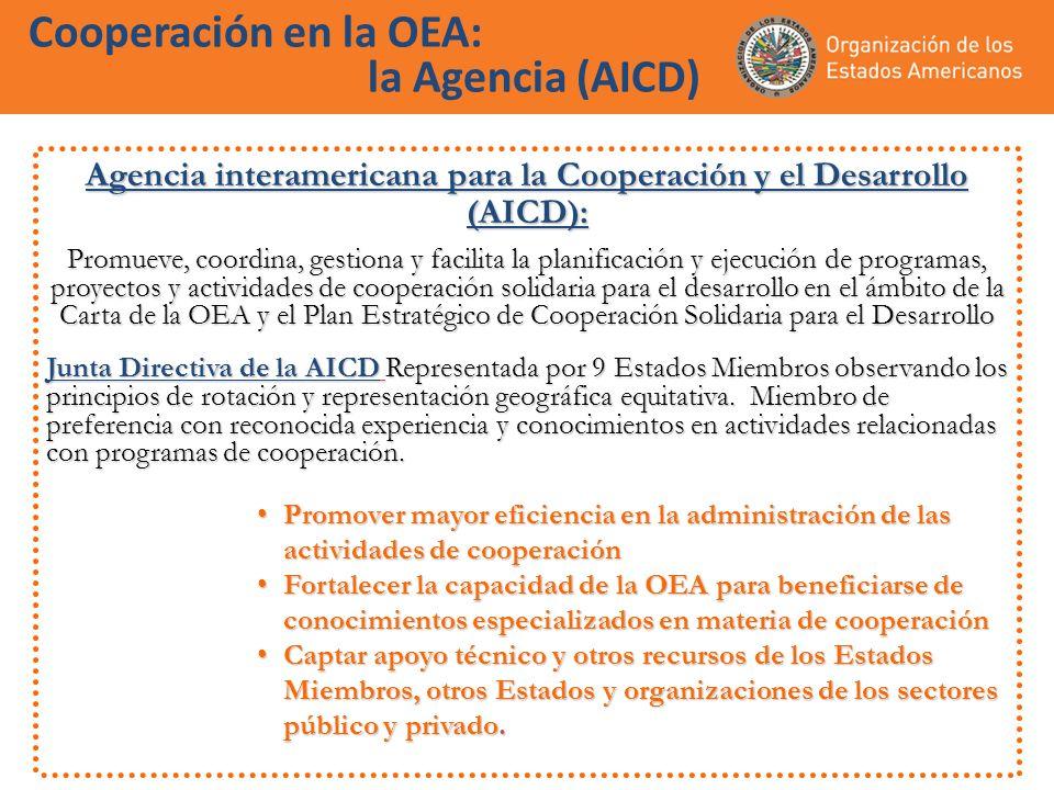 Cooperación en la OEA: la Agencia (AICD) Agencia interamericana para la Cooperación y el Desarrollo (AICD): Promueve, coordina, gestiona y facilita la