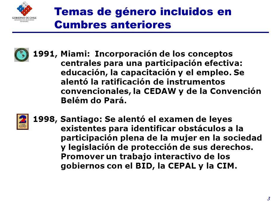 4 2001, Quebec: se fortaleció el papel de la CIM como asesora técnica en tema de género del GRIC.