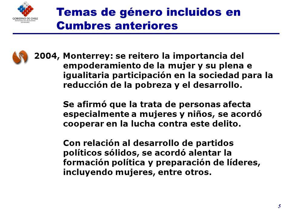 5 2004, Monterrey: se reitero la importancia del empoderamiento de la mujer y su plena e igualitaria participación en la sociedad para la reducción de