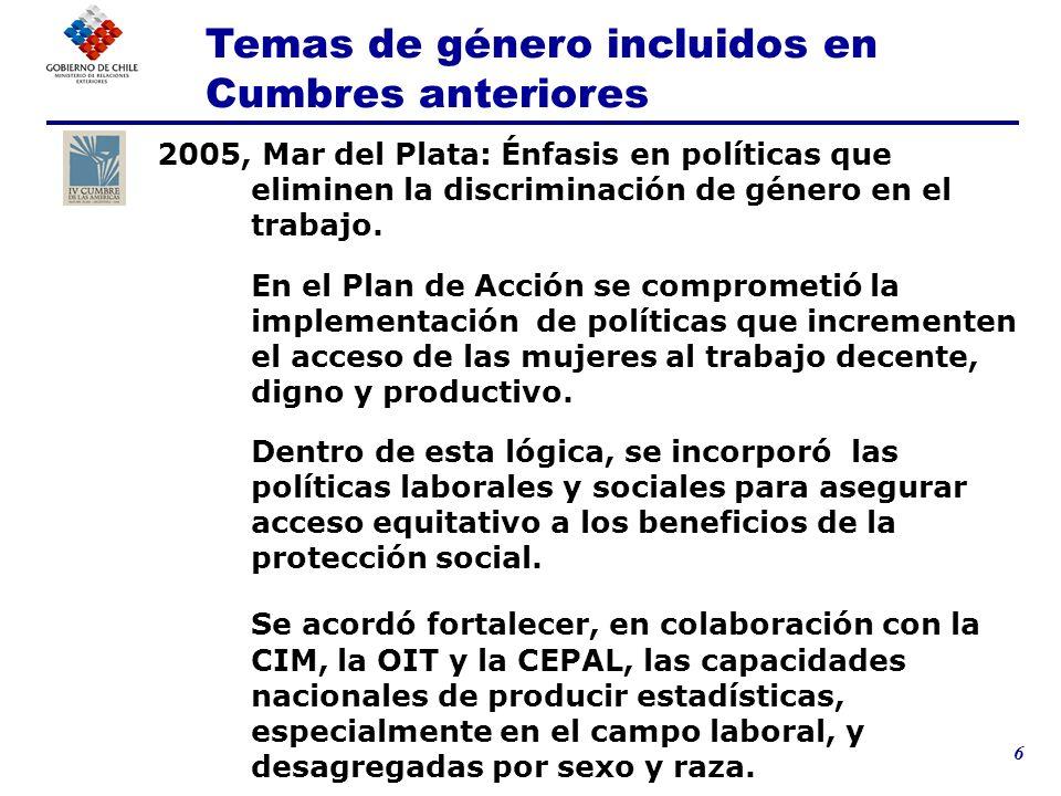 6 2005, Mar del Plata: Énfasis en políticas que eliminen la discriminación de género en el trabajo. En el Plan de Acción se comprometió la implementac