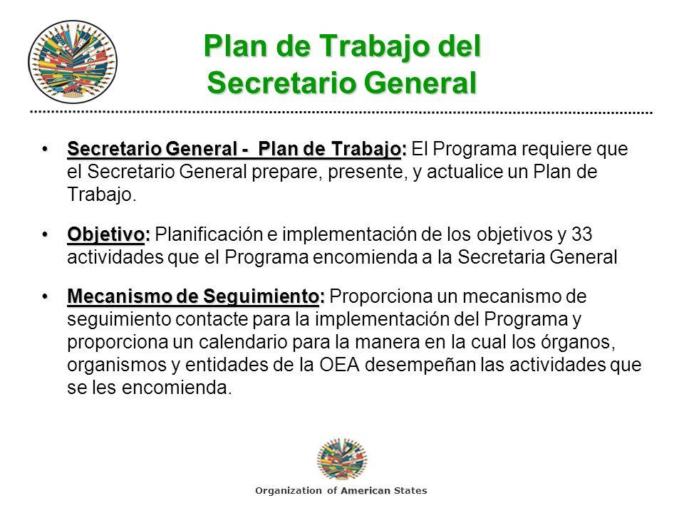 Plan de Trabajo del Secretario General Secretario General - Plan de Trabajo:Secretario General - Plan de Trabajo: El Programa requiere que el Secretar