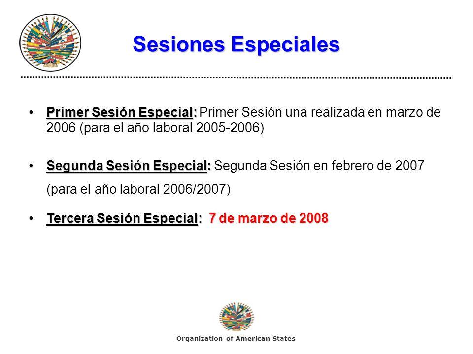 Sesiones Especiales Primer Sesión Especial:Primer Sesión Especial: Primer Sesión una realizada en marzo de 2006 (para el año laboral 2005-2006) Segund