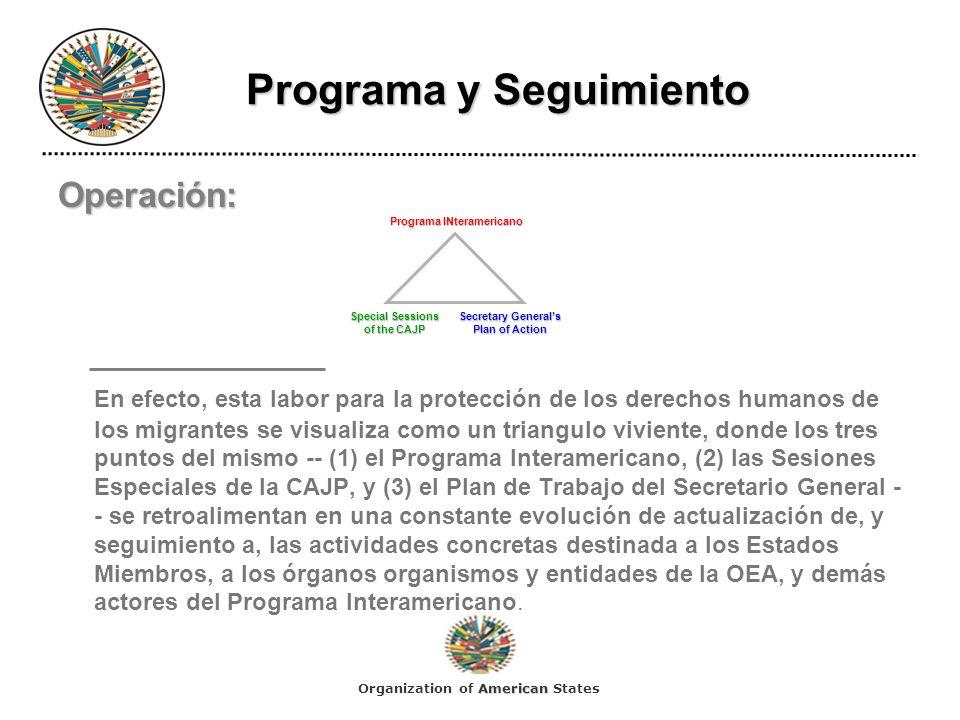 Programa y Seguimiento Programa y Seguimiento Operación: En efecto, esta labor para la protección de los derechos humanos de los migrantes se visualiz