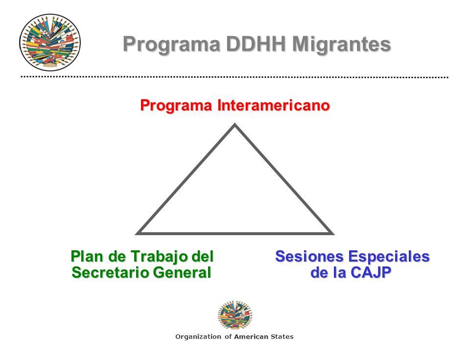 Programa Interamericano Objetivos GeneralesPromoción y Protección de los Derechos Humanos de los Migrantes:Objetivos Generales: Promoción y Protección de los Derechos Humanos de los Migrantes: Desarrollo de Acciones Cooperativas, Actividades, Recomendaciones y Mejores Practicas.