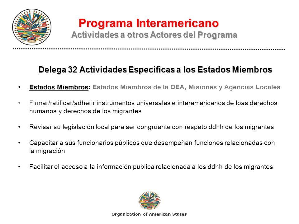 Programa Interamericano Actividades a otros Actores del Programa Delega 32 Actividades Especificas a los Estados Miembros Estados MiembrosEstados Miembros: Estados Miembros de la OEA, Misiones y Agencias Locales Firmar/ratificar/adherir instrumentos universales e interamericanos de loas derechos humanos y derechos de los migrantes Revisar su legislación local para ser congruente con respeto ddhh de los migrantes Capacitar a sus funcionarios públicos que desempeñan funciones relacionadas con la migración Facilitar el acceso a la información publica relacionada a los ddhh de los migrantes American Organization of American States