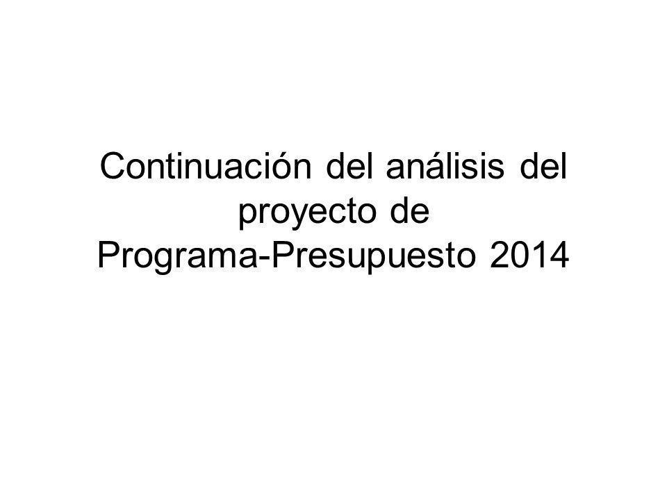 Continuación del análisis del proyecto de Programa-Presupuesto 2014