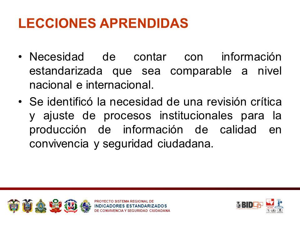 PROYECTO SISTEMA REGIONAL DE INDICADORES ESTANDARIZADOS DE CONVIVENCIA Y SEGURIDAD CIUDADANA LECCIONES APRENDIDAS Necesidad de contar con información
