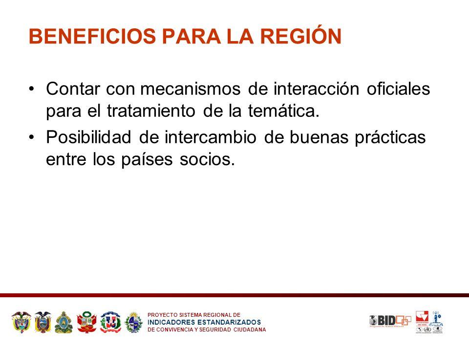 PROYECTO SISTEMA REGIONAL DE INDICADORES ESTANDARIZADOS DE CONVIVENCIA Y SEGURIDAD CIUDADANA BENEFICIOS PARA LA REGIÓN Contar con mecanismos de intera