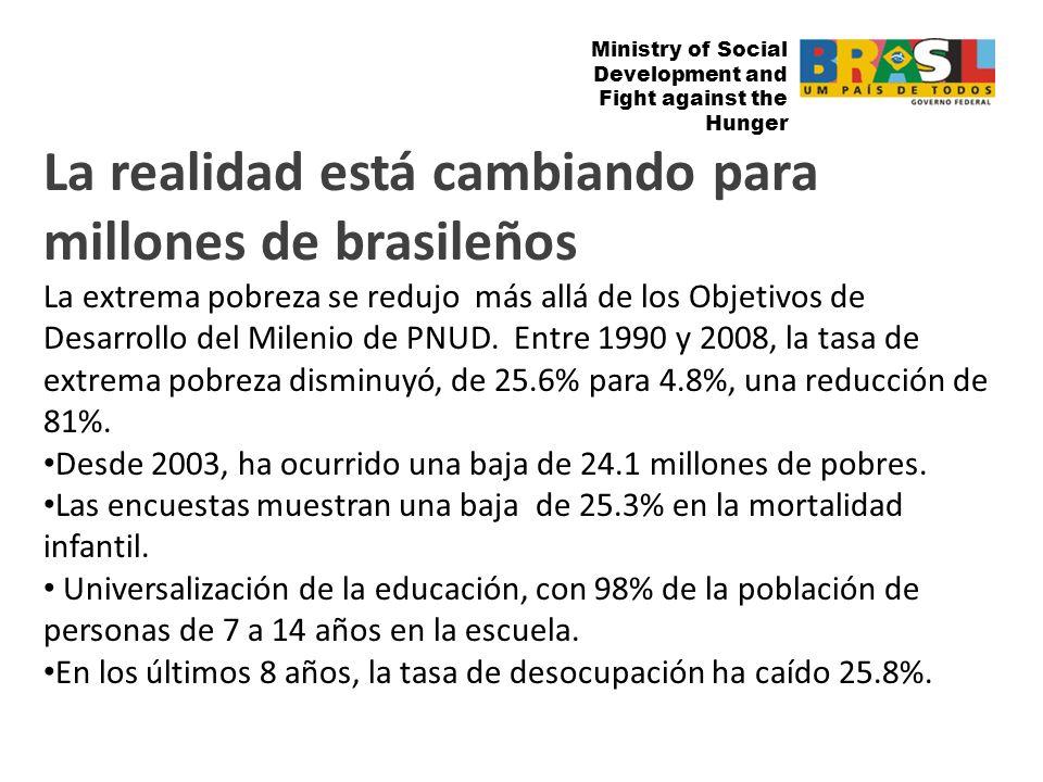 Ministry of Social Development and Fight against the Hunger La realidad está cambiando para millones de brasileños La extrema pobreza se redujo más allá de los Objetivos de Desarrollo del Milenio de PNUD.