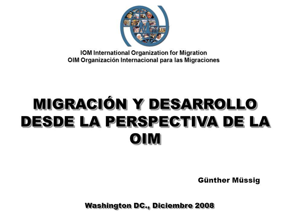 IOM International Organization for Migration OIM Organización Internacional para las Migraciones MIGRACIÓN Y DESARROLLO DESDE LA PERSPECTIVA DE LA OIM Washington DC., Diciembre 2008 Günther Müssig