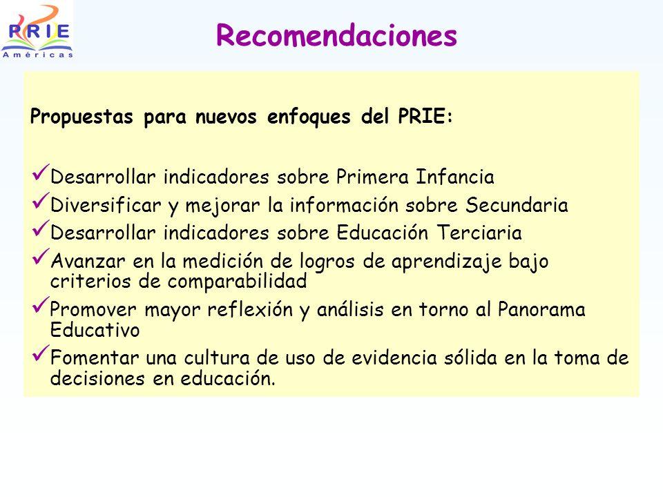 Recomendaciones Propuestas para nuevos enfoques del PRIE: Desarrollar indicadores sobre Primera Infancia Diversificar y mejorar la información sobre S