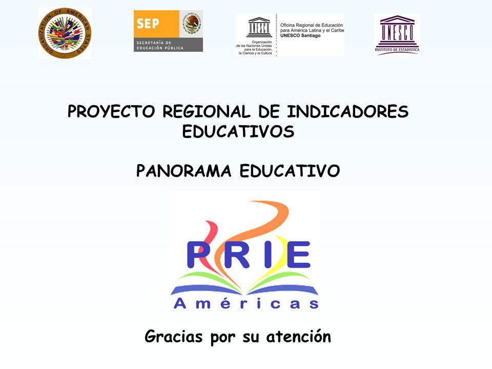 Gracias por su atención PROYECTO REGIONAL DE INDICADORES EDUCATIVOS PANORAMA EDUCATIVO