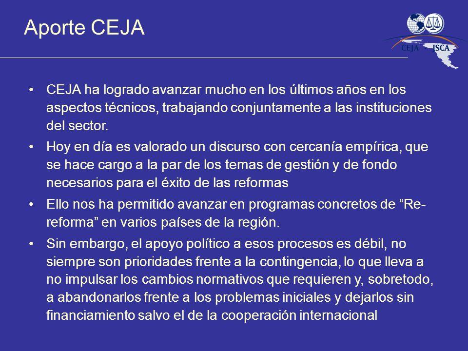Aporte CEJA CEJA ha logrado avanzar mucho en los últimos años en los aspectos técnicos, trabajando conjuntamente a las instituciones del sector.