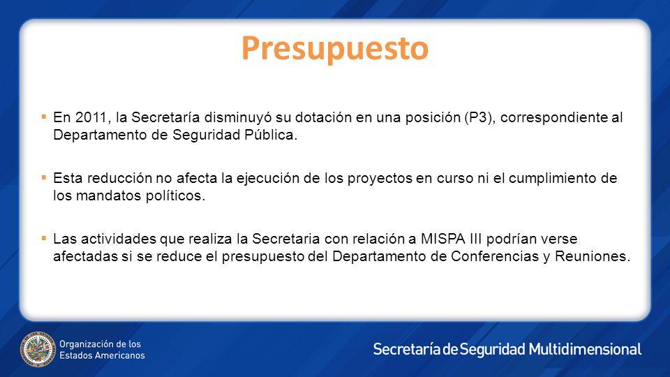 Presupuesto En 2011, la Secretaría disminuyó su dotación en una posición (P3), correspondiente al Departamento de Seguridad Pública.